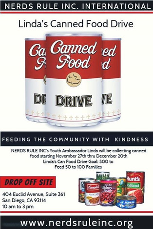NERDS RULE INC. Youth Ambassador Canned Food Drive