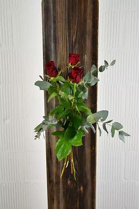 Rote Rosen mit Grün
