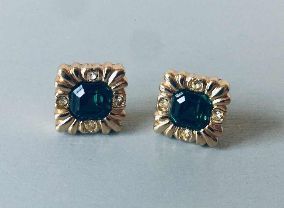 SOLD70s Emerald Green Crystal Earrings for Pierced Ears