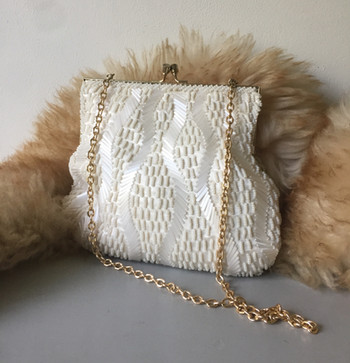 SOLD 60s Ivory Hand Beaded Evening Bag