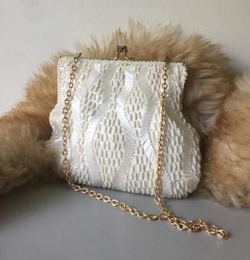 60s Ivory Hand Beaded Evening Bag