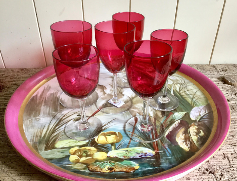 SOLD Victorian Pink Ruby Port Glasses