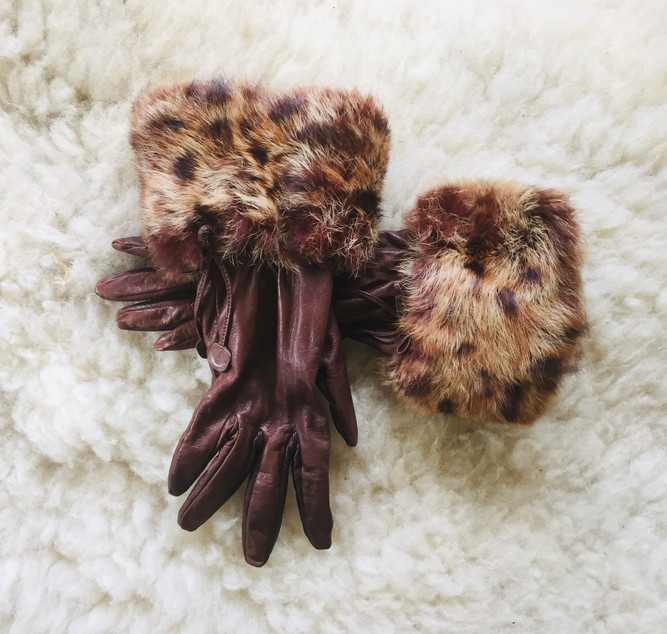 SOLD 80s Kid Leather Gloves with Fur Trim
