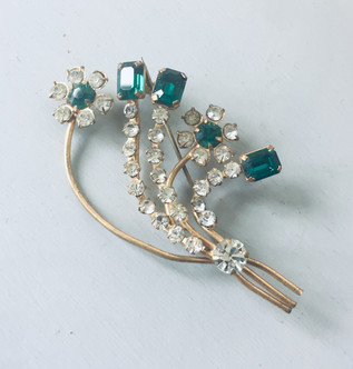 SOLD Art Deco Emerald Green and Clear Rhinestone Flower Spray Brooch