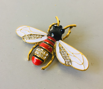 SOLD 70s Enamelled Statement Bee Brooch