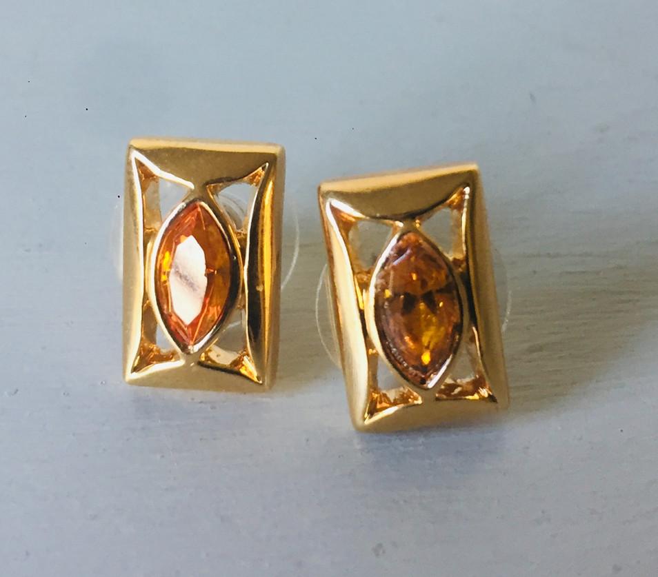 Dainty 70s Amber Crystal Earrings for Pierced Ears