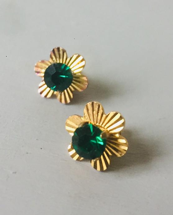 70s Dainty Emerald Green Crystal Earrings for Pierced Ears