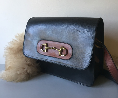 Vintage Black and Tan Leather Bag with Brass Detail