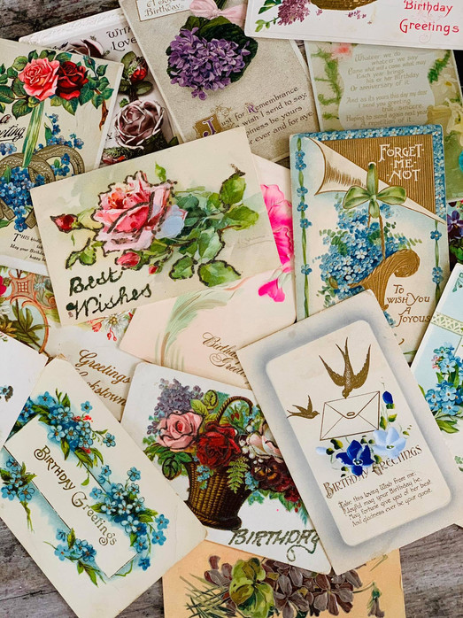 SOLD Collection of 16 Antique Birthday Cards