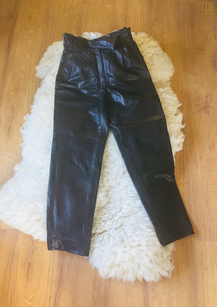 SOLD - 80s Dark Brown Leather Trousers 'Norris Raymond'
