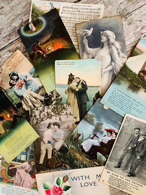 Collection of 12 Romantic Antique Postcards