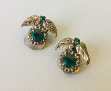 SOLD 40s Emerald Green Crystal Clip on Earrings