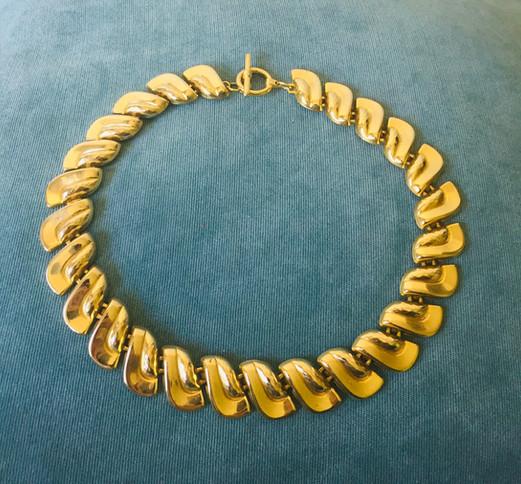 80s Chunky Goldtone Panel Necklace