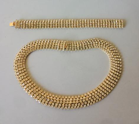 60s Goldtone Rhinestone Necklace/choker and Bracelet