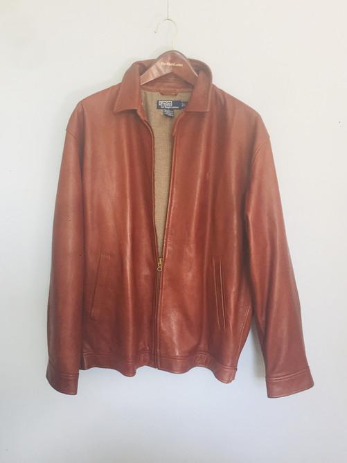 SOLD Vintage 'Polo Ralph Lauren' Tan Leather Harrington Bomber Jacket