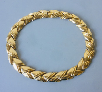 80s Goldtone Panel Necklace