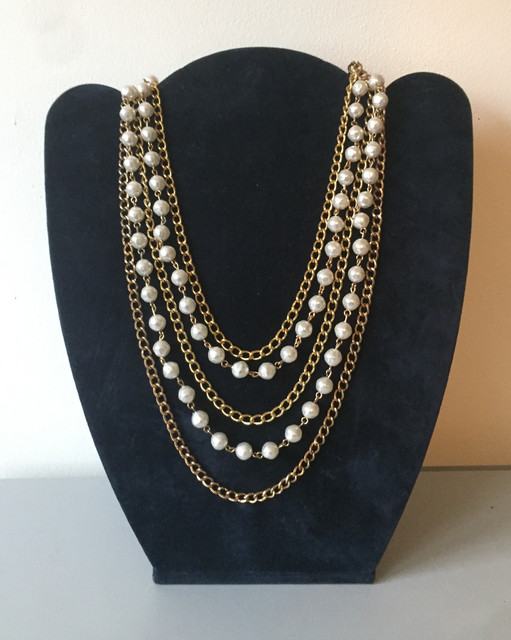 70s Goldtone Chain and Pearl Waterfall Necklace