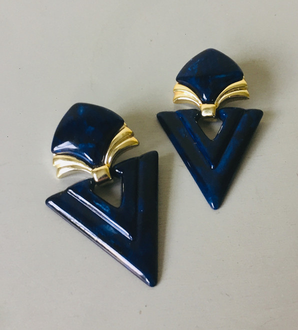 SOLD 80s Large Marbled Lucite Statement Clip On Earrings