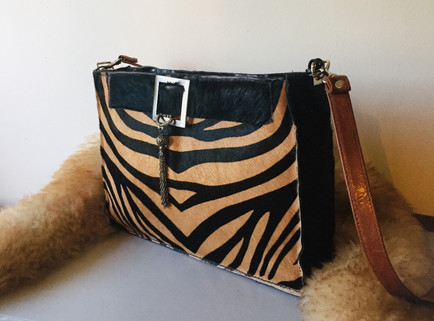 SALE Bespoke Hair on Hide Zebra Print Bag