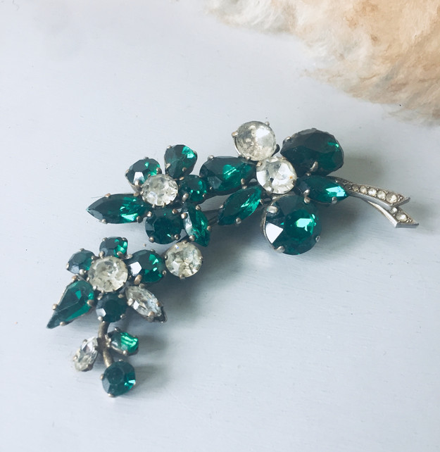 SOLD Huge Emerald Green and Clear Rhinestone Brooch