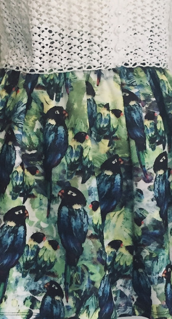 Vintage Gathered Skirt with Parrot Design
