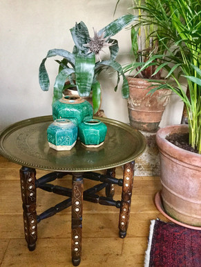 SOLD Vintage Morrocan Style Brass and Wood Table