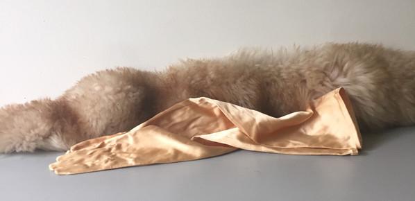 50s Gold Satin Opera Gloves