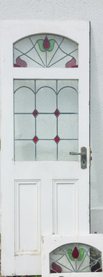 Vintage Leaded Stained Glass Double Doors with Five Matching Panels