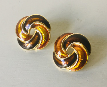 SOLD 70s Enamelled Swirl Earrings for Pierced Ears