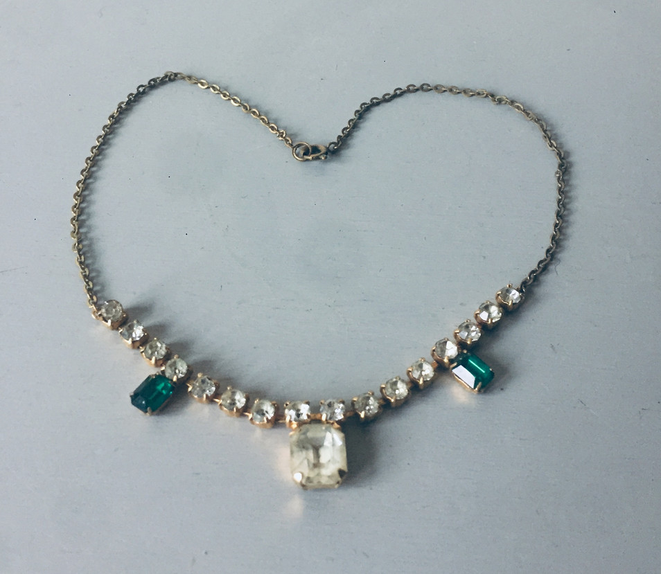 SOLD Dainty Art Deco Rhinestone Necklace