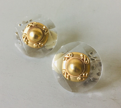 SOLD 60s Antiqued Goldtone and Clear Faceted Lucite Clip On Earrings