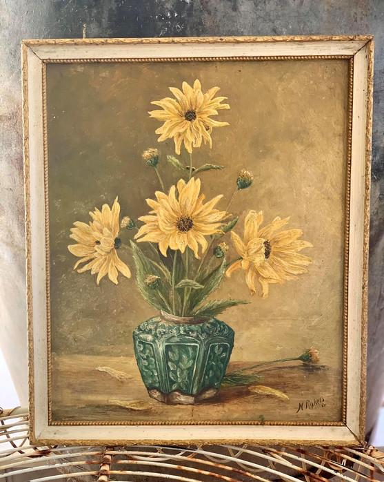 Vintage Framed Flower Painting