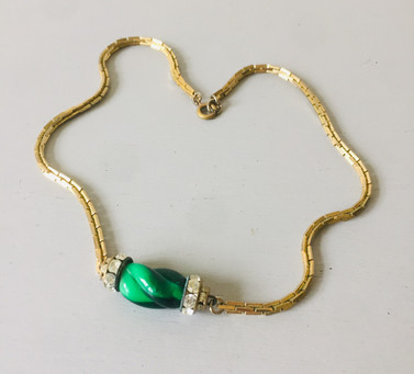SOLD 70s Rhinestone and Green Glass Necklace