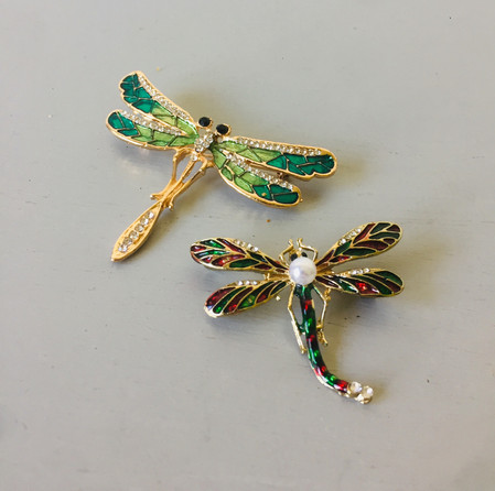 SOLD 70s Enamelled Dragonfly Brooches