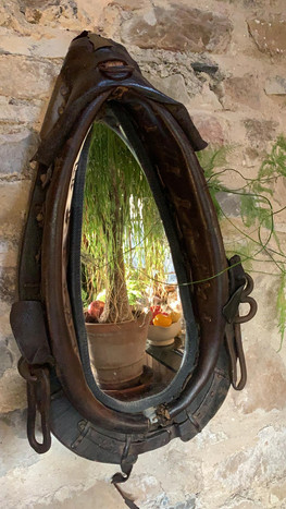 SOLD Antique Mirror in Antique Horse Harness
