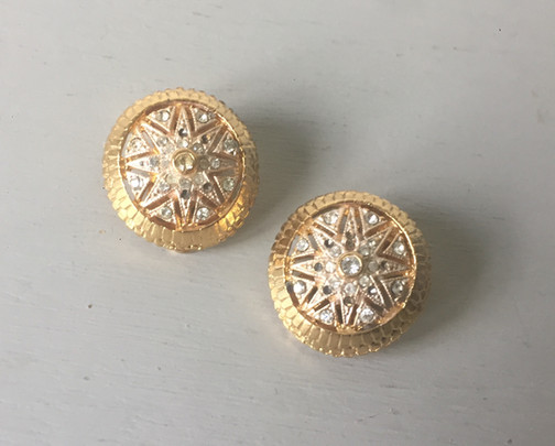 80s Rhinestone Goldtone Clip on Earrings