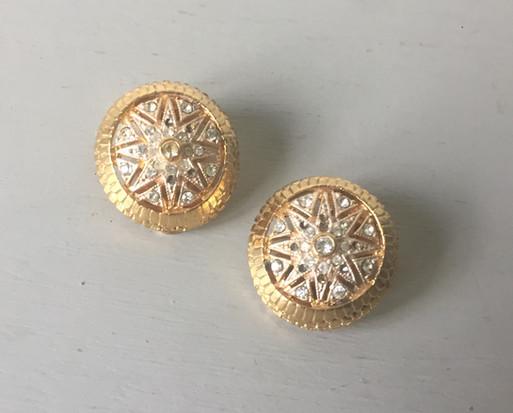 SOLD 70s Rhinestone Goldtone Clip on Earrings