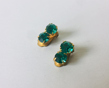 SOLD 50s Double Emerald Green Crystal Clip on Earrings