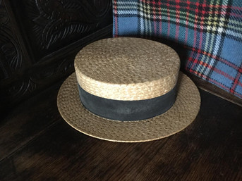 Antique Straw Boater Hat