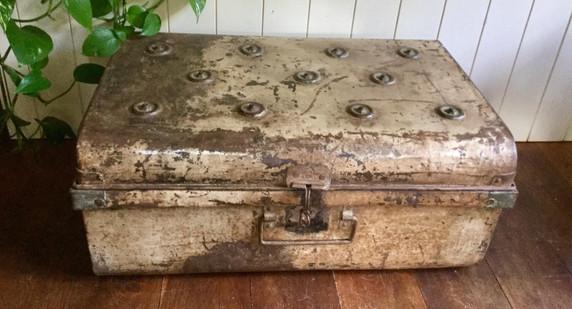 SOLD Antique Metal Storage Trunk