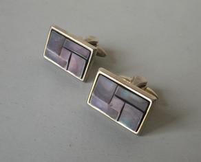 SOLD 70s Abalone Shell Mosaic Cufflinks