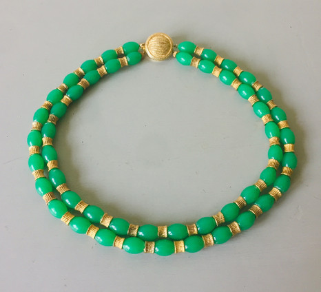 60s Green Lucite Double Row Beads with Goldtone Detail