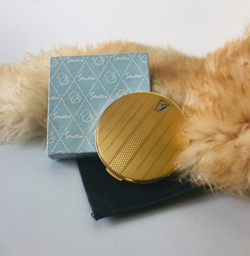 SOLD 50s 'Stratton' Powder Compact with initial 'J'