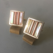 SOLD 60s Mother of Pearl Wrap Around Cufflink