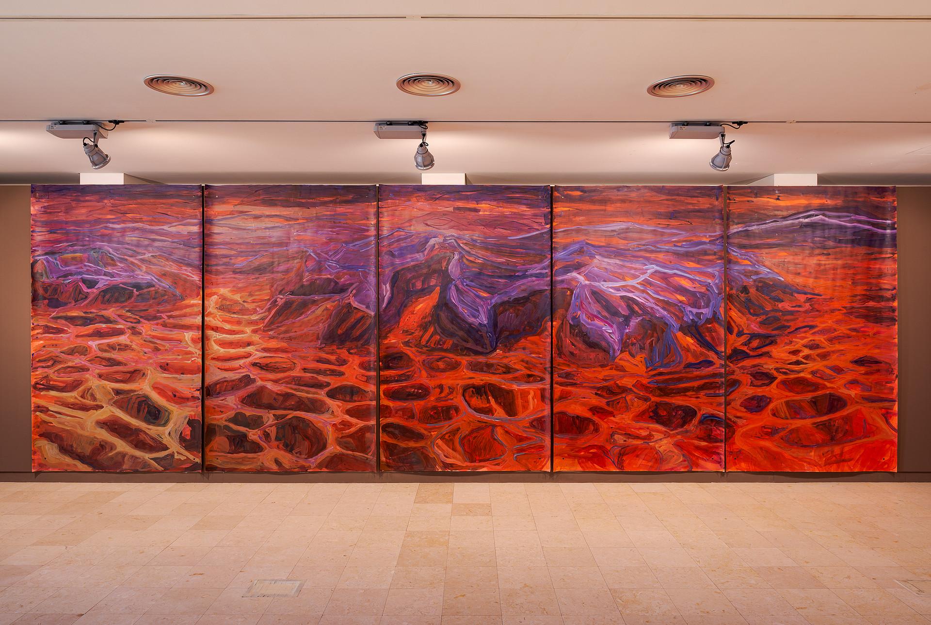 Liquid Sand #2, acrylic on watercolor paper, 250 x 750 cm. Exhibition view. DMF 2020