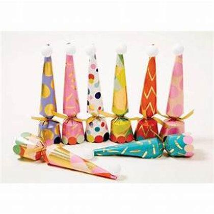 Caspari Party Hats Cone Celebration Crackers – 8 Pack