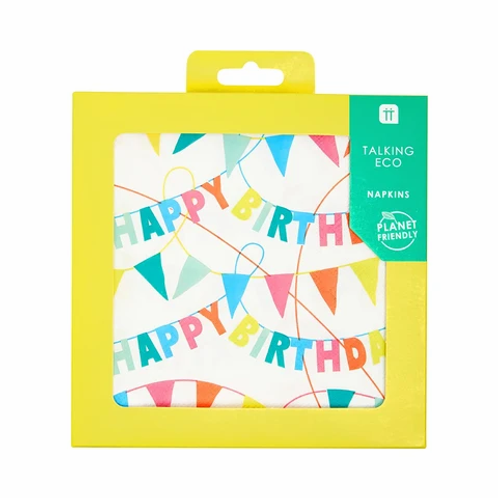 Talking Tables Recyclable Happy Birthday Rainbow Napkins