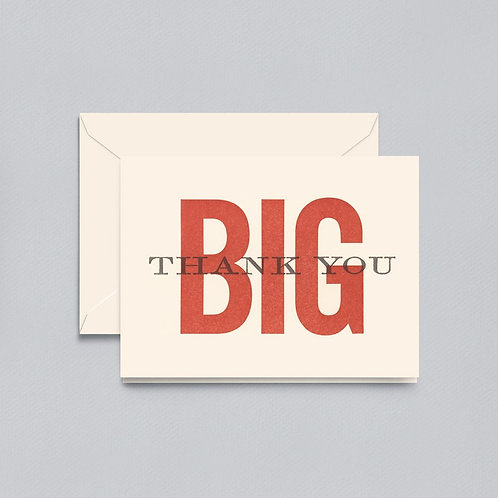Lettpress Big Thank You Note - Box of 10