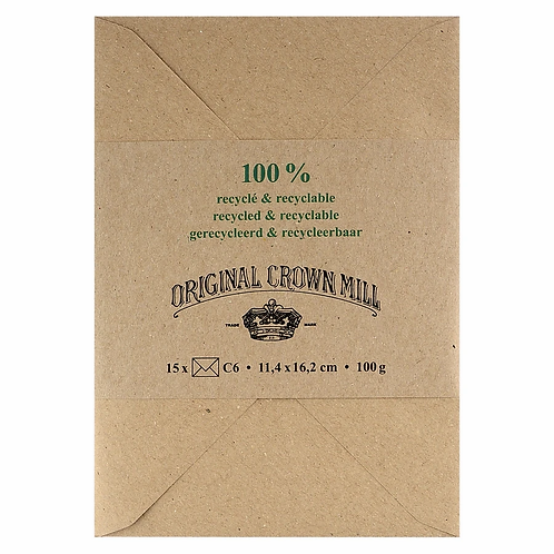 Original Crown Mill 100% Recycled Envelopes for Note Cards and A5 Sheets