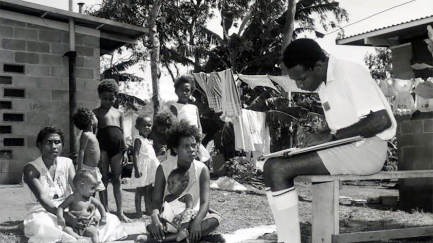 June/1966- Census interviewers, Baruni village near Port Moresby. Census conducted by Mr Henry Tamarua.